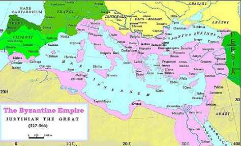 Map of Byzantine Empire in the 6th century