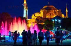 Hagia Sophia and the fountain by night